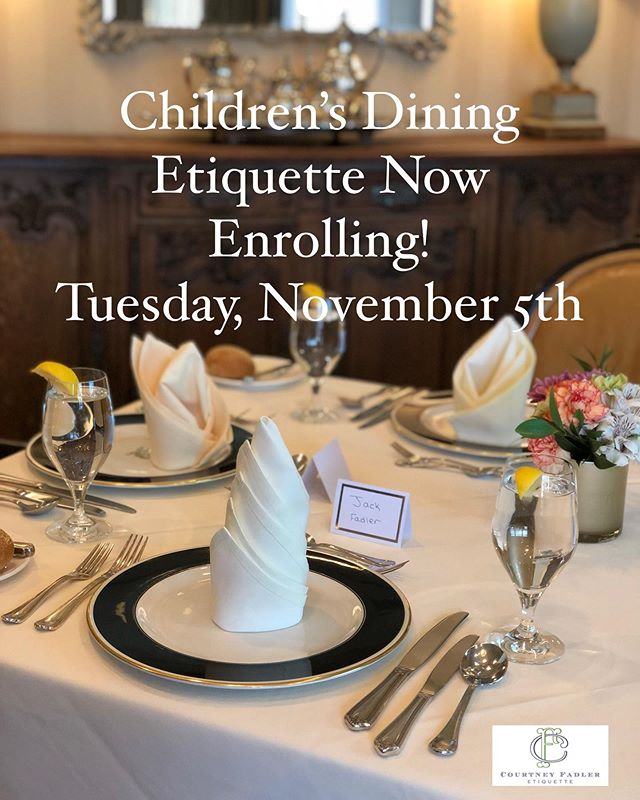 Coming up in 1 week! 🍽 Just a few spots left for this dining etiquette course for ages kindergarten and up! And a great chance to brush up on those dining manners before the busy holidays ahead🍗🥧. Direct message or email at cfetiquette@Gmail.com to reserve spots. More information available online at www.katiet13.sg-host.com  #cfetiquette #etiquette #diningetiquette #emilypost #emilypostinstitute